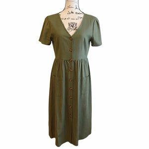 Cotton On V Neck Button On Midi Linen Dress